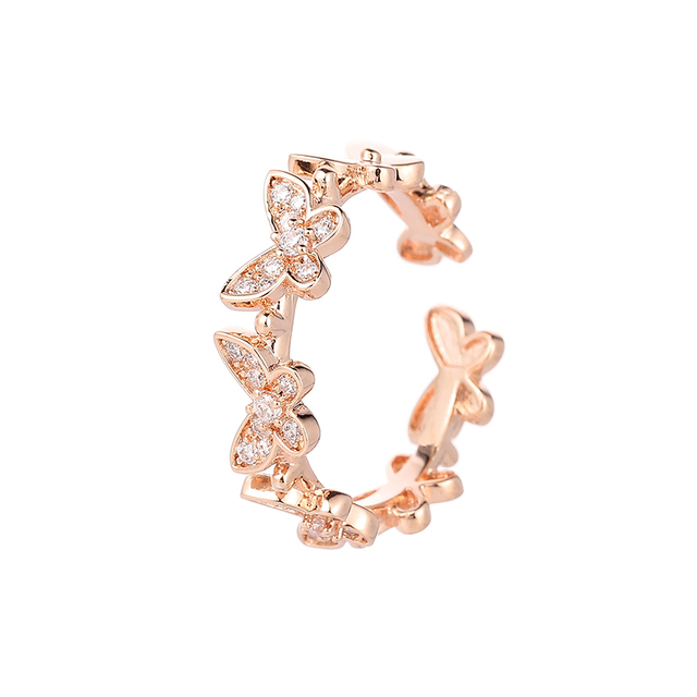 SIPENGJEL Fashion Dancing Moving Temperament Butterfly Rings Dainty Insect Open Adjustable Rings For Women Jewlery 2021 3