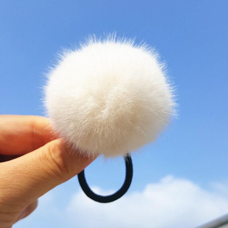 1pc Imitation lapin fourrure pompon boule cheveux bandes colorées filles élastique pour queue de cheval Pom Pom élastique cheveux cravates cheveux accessoires enfants