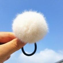 Coletero de imitación de pompón de pelo de conejo para niña, bandas elásticas para pelo, accesorios para el cabello, 1 ud.