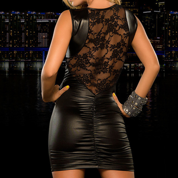 Sexy Lace Mini Dress for Women Ladies Wet Look Fetish Bondage Vinyl PVC Leather Bodycon Slim Dress Red Black 2