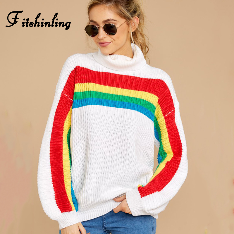 Fitshinling Rainbow Striped Women's Turtleneck Sweaters Winter Clothing 2019 White Pullover Korean Slim Jumper Knitted Sweater
