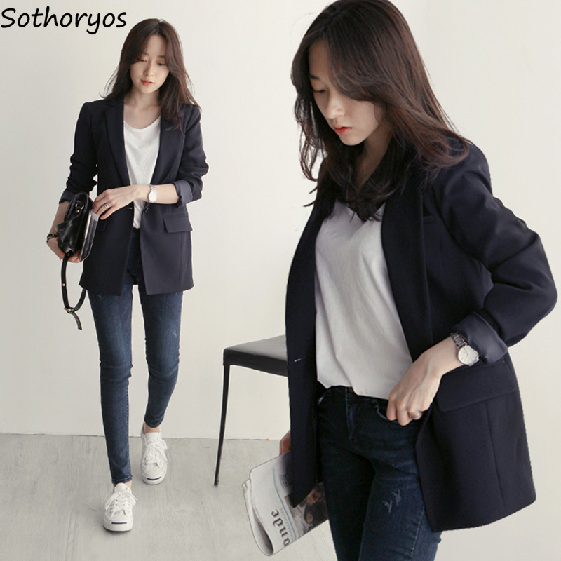 Blazers Women Simple Solid Elegant All-match High Quality Korean Style Womens Trendy Ladies Leisure Single Button Blazer Black