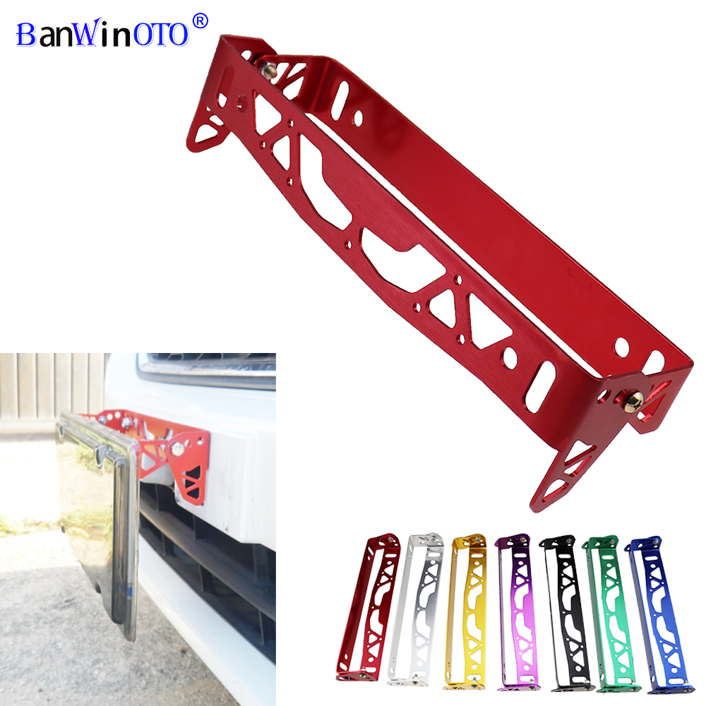 Car License Plate Frame Universal Aluminum Power Racing JDM Styling Rotating Number License Plate Frames Tag Holder Adjustable