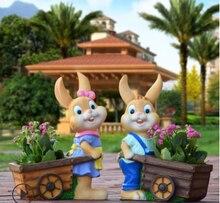 Садовый ландшафт скульптура эскиз мультфильм кролик цветок резервуар