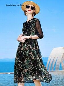Silk dress women's summer 2020 new high-end temperament black Hepburn style floral silk dress