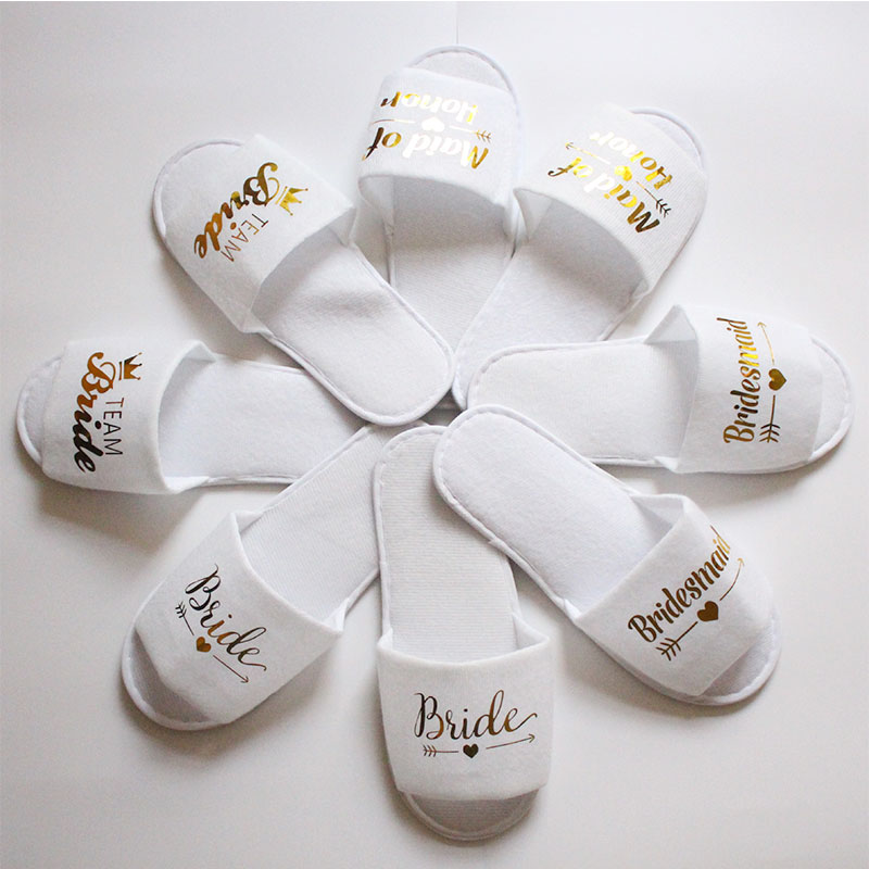 1 Pair Bridal Shower Wedding Decoration Bridesmaid Bride Spa Soft Slippers For Hen Night Bachelorette Party Supplies Gift