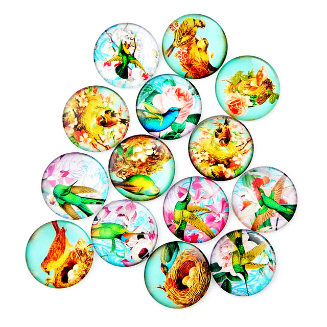 10 шт круглые стеклянные ожерелья кабошоны с птицами
