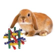 Pet Toy Colorful Wood Safety Knot Nibbler Chew Bite For Rabbit Animal Kid Adults Drop
