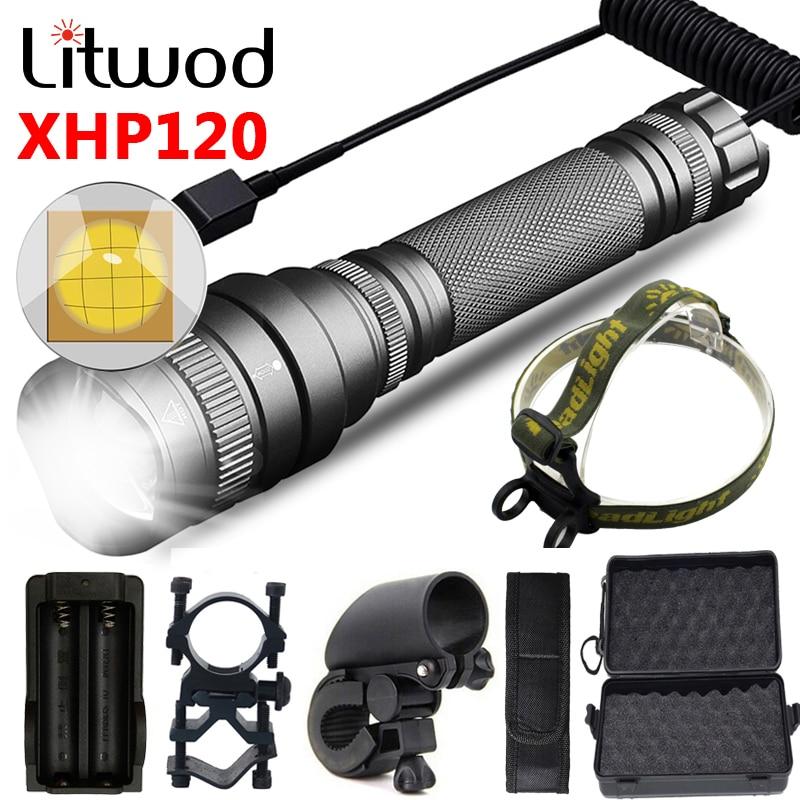 XHP120 taktyczne latarka myśliwska Led 2*18650 akumulator wodoodporna latarka Zoomable wysokiej jakości XHP90 XHP70 XHP50 latarnia