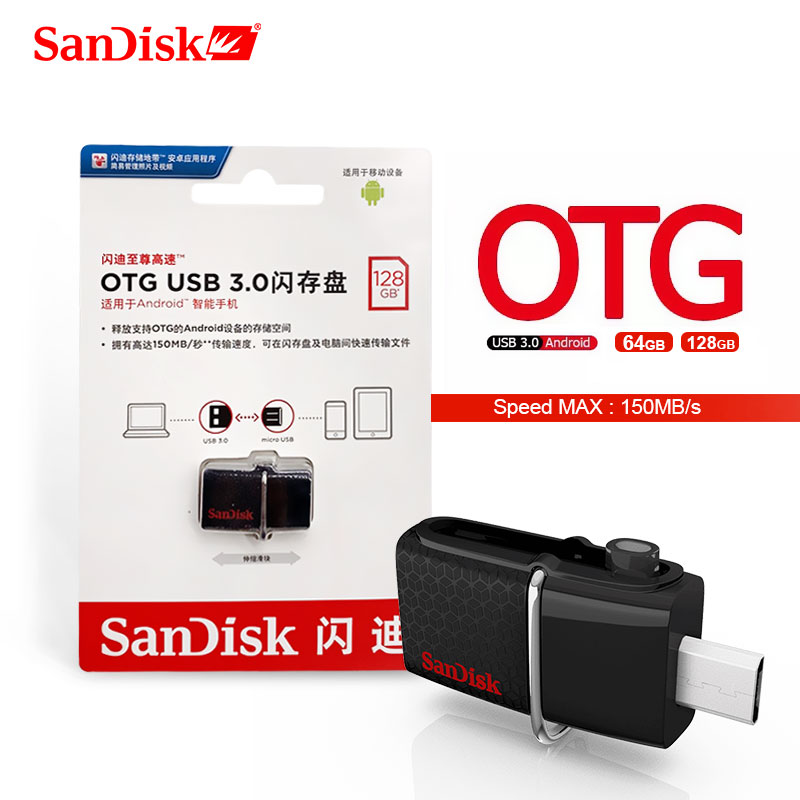SanDisk USB OTG Pen Drive 128GB 256GB 130mb/s 3.0 Flash Drive 16GB External Storage Pendrive 32gb OTG 64GB Memory Usb Stick 3.0