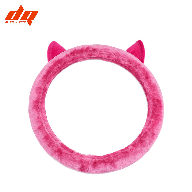 <font><b>Car</b></font> Steering <font><b>Wheel</b></font> <font><b>Cover</b></font> Winter Soft Plush Cute Cartoon Cat Ears Universal Non-slip <font><b>Women</b></font> Female Steering <font><b>Covers</b></font> image