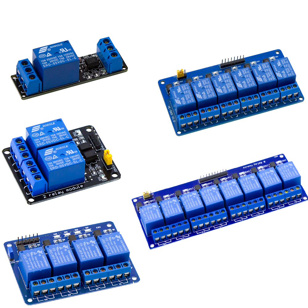 <font><b>1</b></font>/2/<font><b>4</b></font>/6/8 Channel Relay Module with light coupling/Optocoupler Relay Output <font><b>1</b></font>/2/<font><b>4</b></font>/6/8 Way Relay Module 5V for Arduino image
