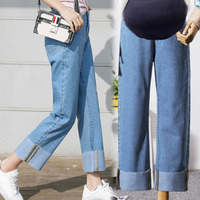 Pregnant women's pants in autumn loose jeans in straight nine point wide legged mothers ropa mujer maternity pregnancy woman