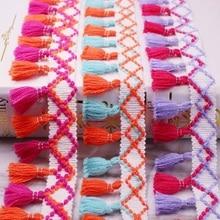 1Yard/Lot Lace Ribbon Sewing Pom Tassel Pompoms 5cm Width Ball Embroidery Garment Fringe Trim Fabric Accessory
