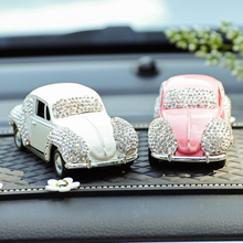 Universal Cartoon Vehicles Replica Crystal Mini Cooper and Alloy Car Interior Auto Accessories Decoration For Girls