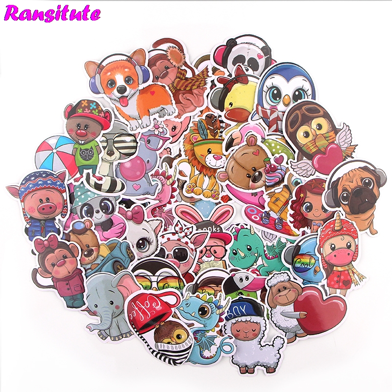 39pcs / Set Animal World PVC Waterproof Fun Sticker Toy Luggage Sticker Motorcycle And Luggage Notebook Sticker R714