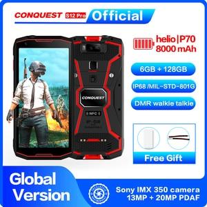 Image 1 - CONQUEST 8000 мАч S12 Pro IP68 водонепроницаемый прочный смартфон мобильный телефон 6,0 дюймов Android 9,0 helio P70 Восьмиядерный прочный смартфон