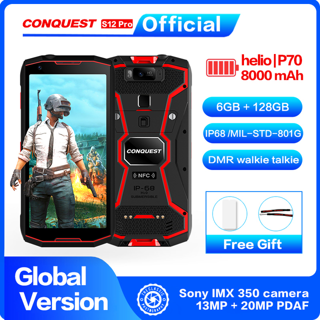 CONQUEST 8000 мАч S12 Pro IP68 водонепроницаемый прочный смартфон мобильный телефон 6,0 дюймов Android 9,0 helio P70 Восьмиядерный прочный смартфон