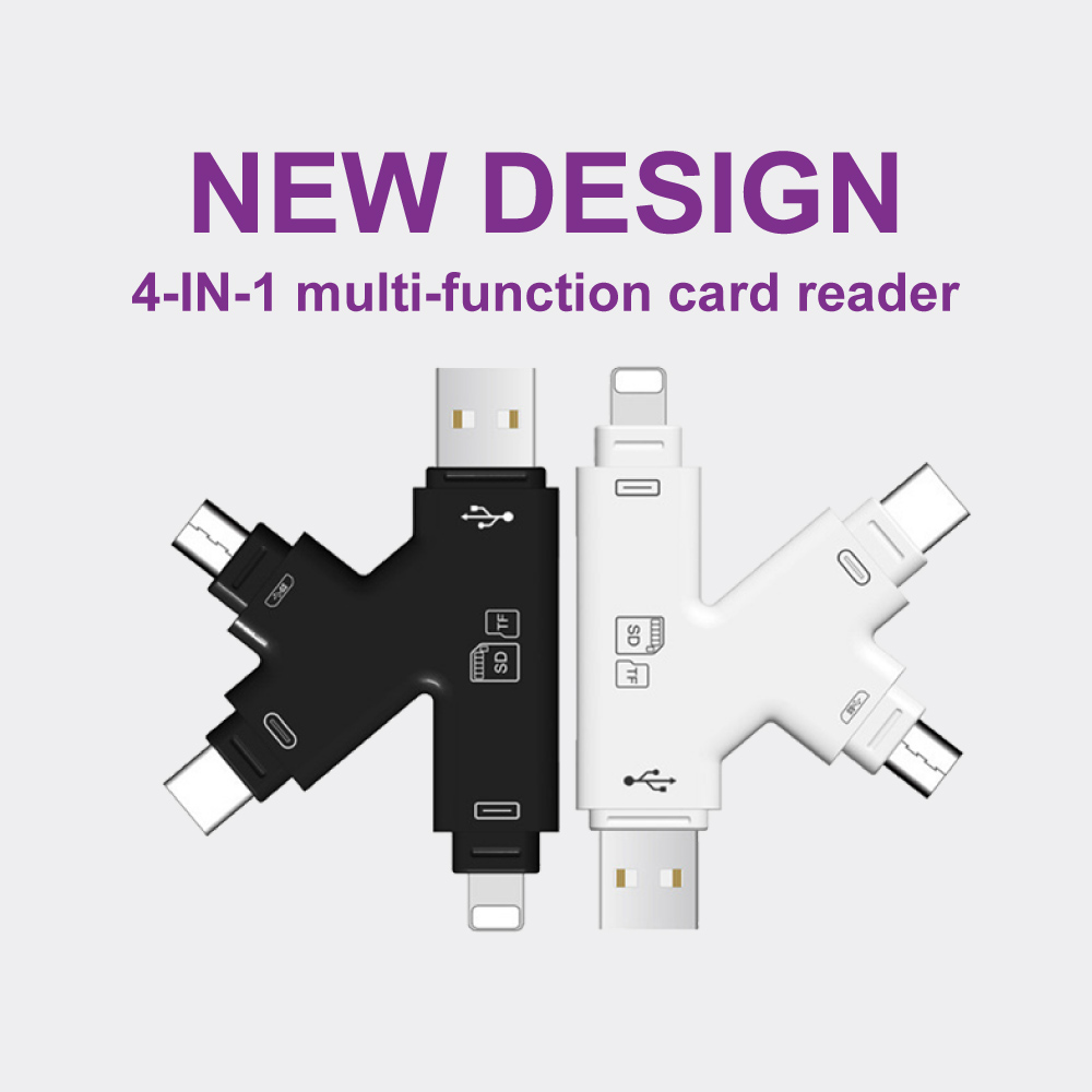 4 In 1 Memory Card Reader Micro SD Card Reader Type-C/Lightning/Micro USB OTG Card Reader For Iphone 7 8 Samsung S8 S9