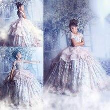 Платья принцессы для девочек с цветочным принтом 2020 кружевная