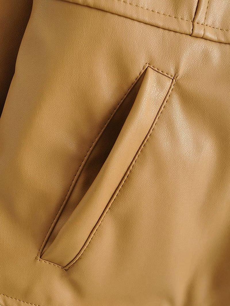 Toppies Women Faux Leather Jacket High Waist Short Jacket Round Neck Zipper Coat Streetwear