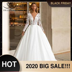 Image 1 - SWANSKIRT בציר תחרה חתונה שמלת 2020 צווארון V ארוך שרוול אונליין רכבת נסיכה מותאם אישית כלה שמלת Vestido דה novia I322