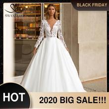 SWANSKIRT Vestido de novia Encaje Vintage, traje de novia personalizado con cuello en V, manga larga, tren de corte en A, I322