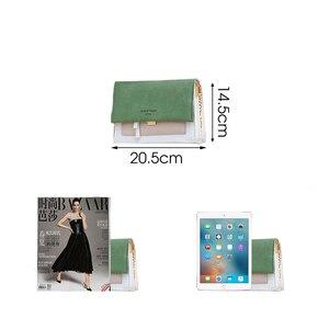 Image 3 - Sac à bandoulière en couleurs contrastées, sac à épaule en daim cuir PU avec chaîne, sac à main et pochette pour femmes