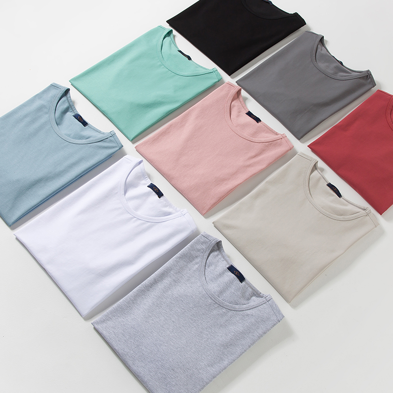 Cotton Solid T Shirt 2020 Summer Men Brand Basic T-shirt Texture High Quality Oversize Slim Fit Male White Top Tees Plus Size