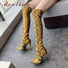 Meotina Winter Thigh High Boots Women Snake Print Thin Heel Over The Knee Boots Sexy Slim Super High Heel Shoes Lady Fall 34-43 недорого