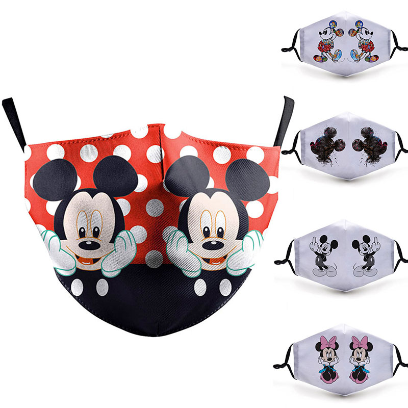 Cute Mask Print Cartoon Mouse Face Anti Flu Masks Adult Protective PM2.5 Filter Reusable Fabric Mask Cute Mouth Cover Washable