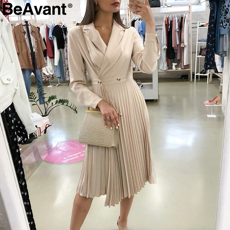 BeAvant Elegant Solid Long Dress Women Sexy Lapel Pleated Ladies Office Dress Streetwear Long Sleeve Autumn Chic Party Dress