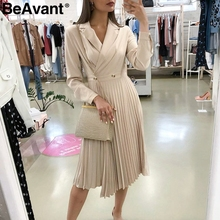 Beavant 우아한 단색 긴 드레스 여성 섹시한 옷깃 pleated 숙녀 사무실 드레스 streetwear 긴 소매 가을 세련된 파티 드레스