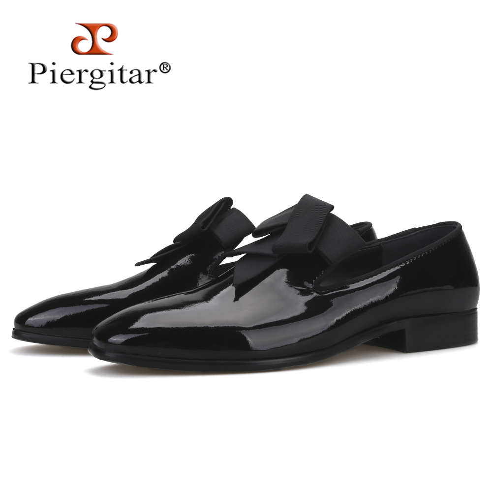 Piergitar Handmade Men Patent Leather Loafers With Bow Tie Design Fashion Party And Banquet Men Dress Shoes Plus Size Men Flats