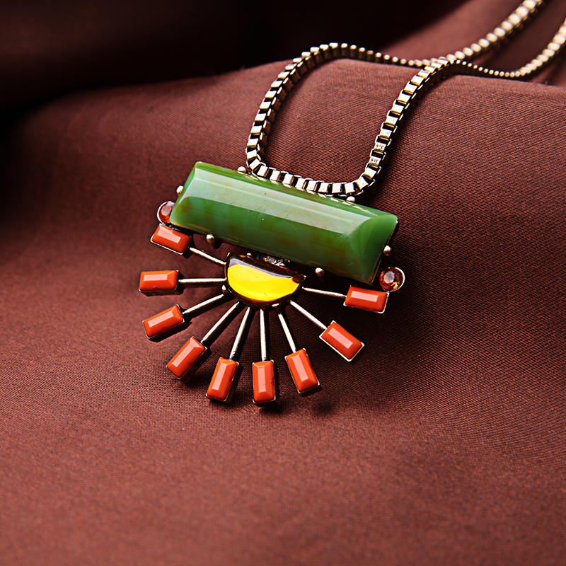 Big Multicolor Pendant Maxi Necklace Resin Gem Bohemia Necklace Gift Jewelry Gold Color Long Chain