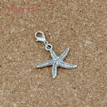150pc/lots Antique Silver Single side Starfish Floating Lobster Clasps Charm Beads Fit Bracelet DIY Jewelry 24x38mm A-530b