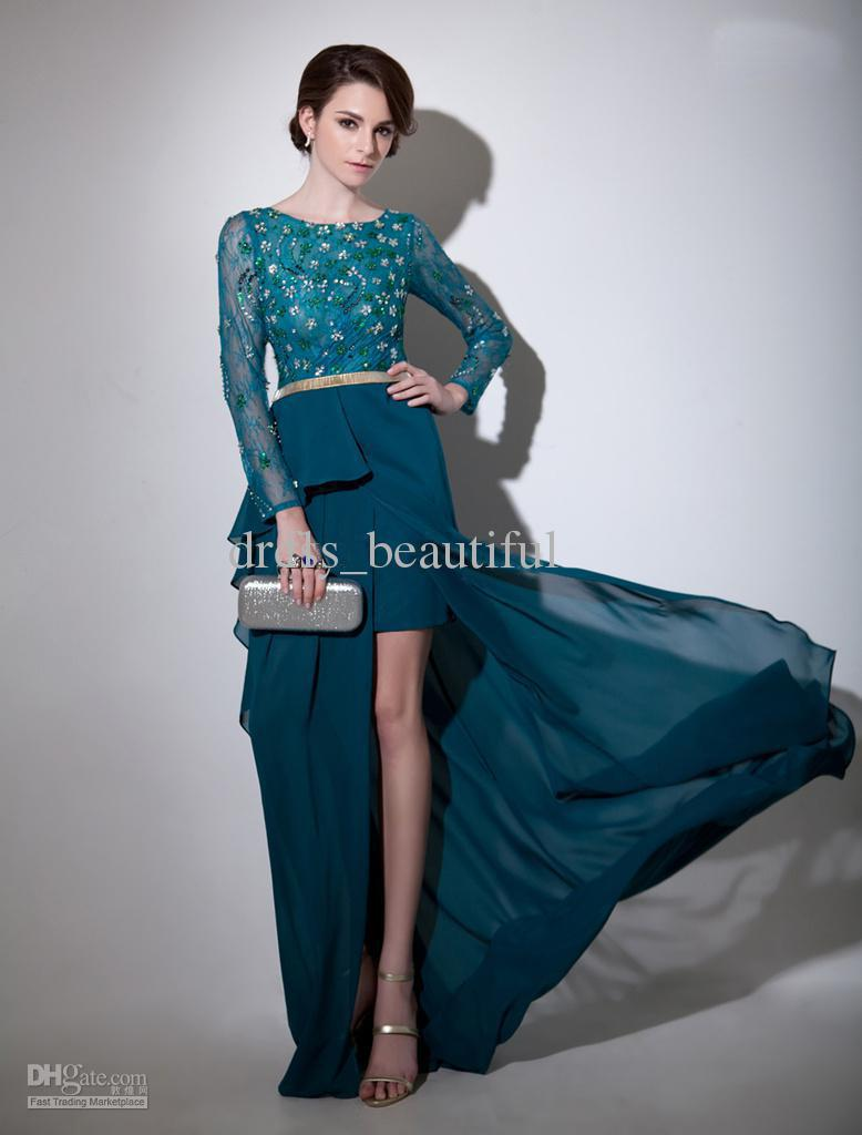Dark Green Beading Jewel Neck Long Sleeves Sheath Chiffon Beautiful Evening Dress Mother Of The Bride Dresses