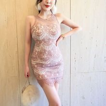 2019 temperament female feeling hollow sleeveless waist slimming bag hip lace dress Sleeveless  Zippers  Knee-Length