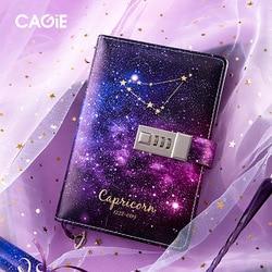 Constelação B6 Diário Com O Caderno de Bloqueio Com Chave de Papel PU Nota De Couro Livro Viajante Diário Semanal Planejador Escola Dos Artigos de Papelaria