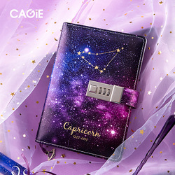 Constellation Dagboek Met Slot Notebook B6 Afsluitbare Papier PU Lederen Notitieboek Reiziger Journal Wekelijkse Planner School Briefpapier