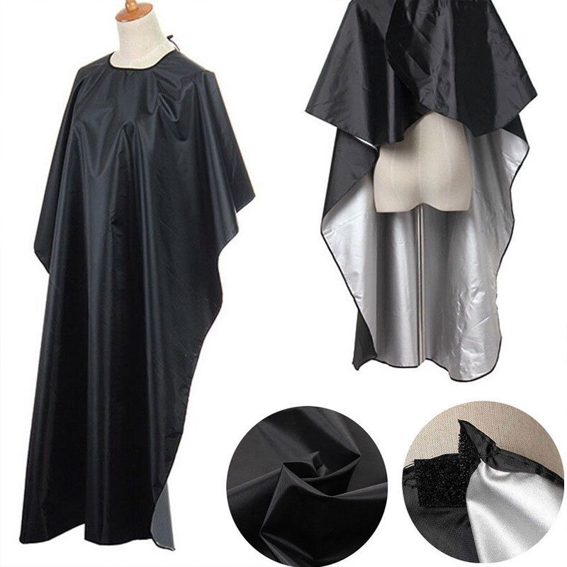 Cape Hairdressing Barber Pro-Salon Waterproof New Black Cloth-Gown title=