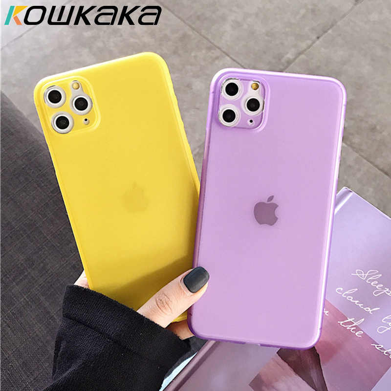 Kowkaka Simple liso Ultra delgado mate funda de teléfono para iPhone 11 Pro Max X XR XS Max 6 6s 7 8 Plus Color caramelo pareja contraportada