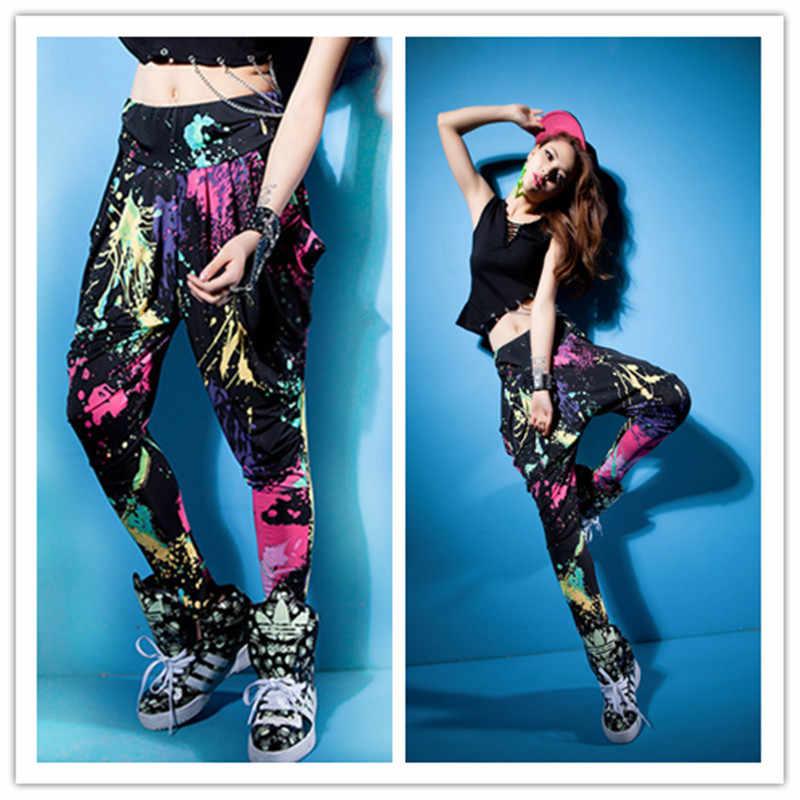 Pantalones deportivos colores caramelo personalidad Casual doodle primavera verano Pantalones sueltos neón street Dance traje harem hip hop Pantalones