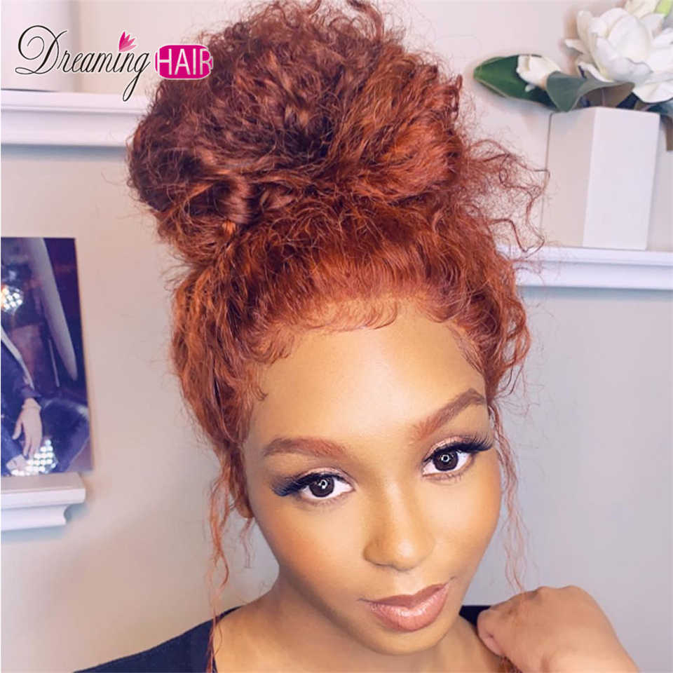 150 Density Orange Lace Front Wig Colored Short Curly Bob  Human Hair Wigs For Black Women Brazilia Ginger Wig Honey Blonde Remy