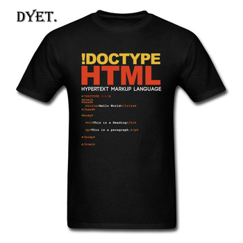 Geek Men T-Shirt HTML T Shirt Drop Shipping Tshirt Funny Tops !Doctype Letter Tees Printed Summer Black Clothes Cotton Fabric