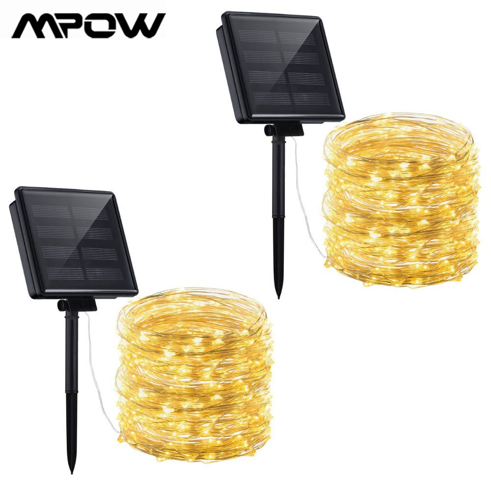 2 Pack Mpow 200 LEDs Solar String Lights Copper Wire Starry Star IP65 Waterproof String Lights Outdoor Xmas Garden Decoration