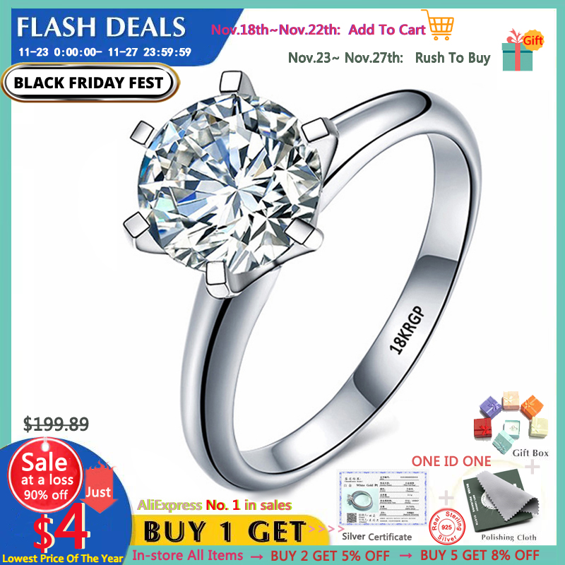 With Certificate Luxury 18K White Gold Ring Original 2.0ct Zirconia Diamond Wedding Band Silver 925 Jewelry Women Christmas Gift