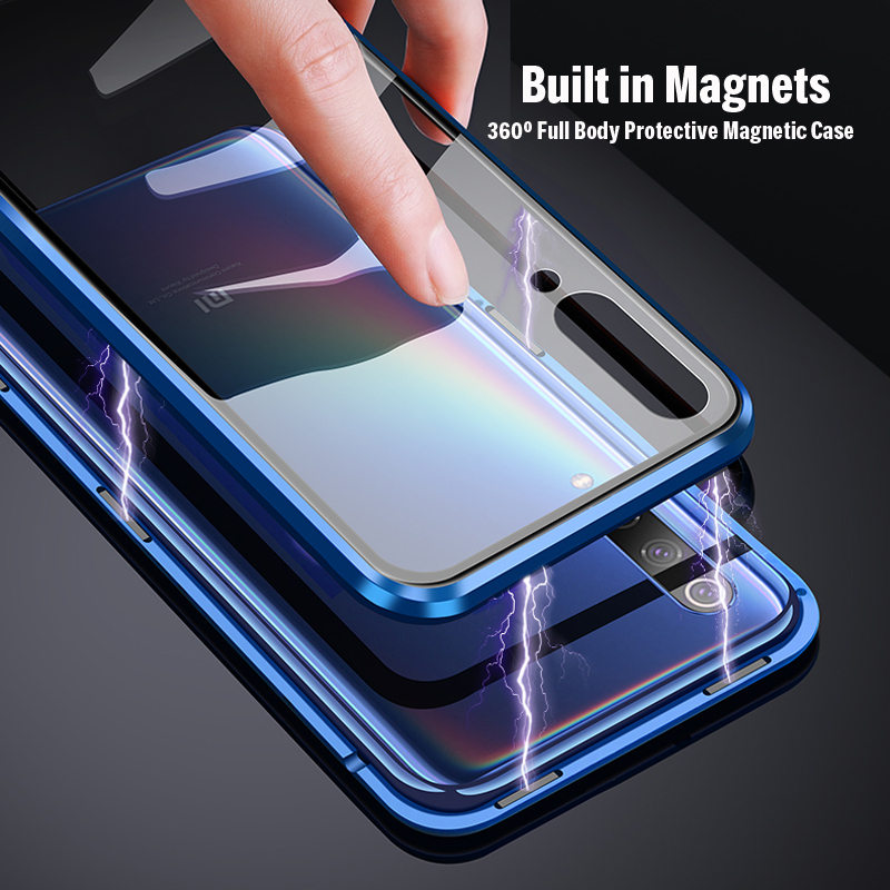 Built In Metal Magnetic Case For Xiaomi Redmi Note 7 Double Side Tempered Glass Magnet  Case Glass Back Cover Note7 Pro