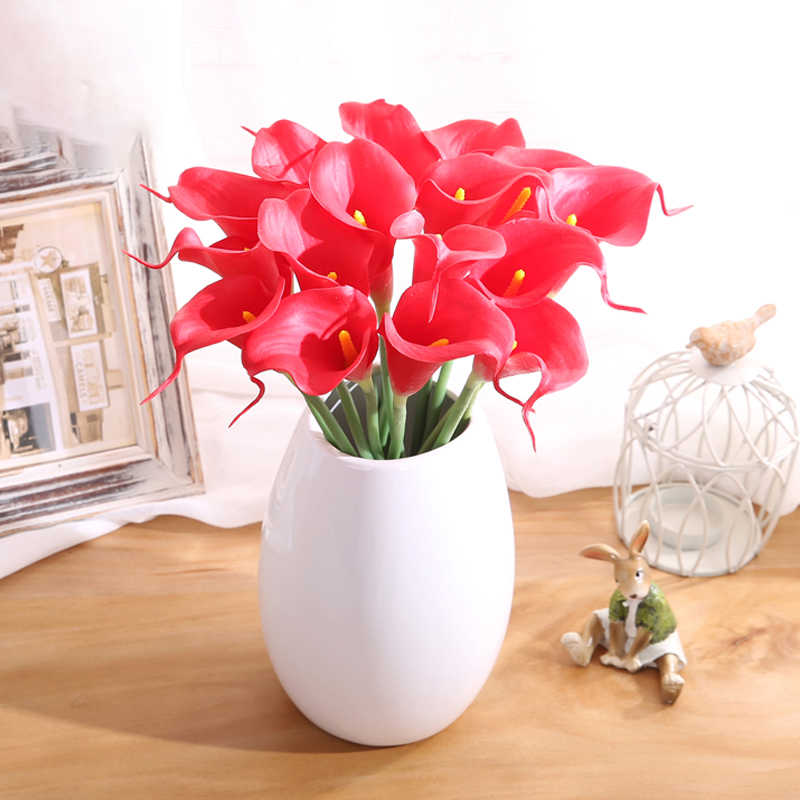 Yumai 10pcs Set Real Touch Pu Calla Lily Artificial Flowers