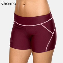 Charmo Women Sports Swimming Trunks Ladies Bikini Bottom Boy Shorts Slim Patchwork Skinny Swim Swimwear Briefs